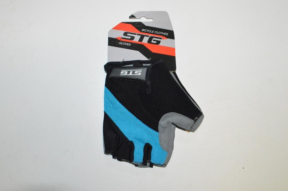 Перчатки велосипедные STG 66457 (кожа+лайкра) гелевая прокл.